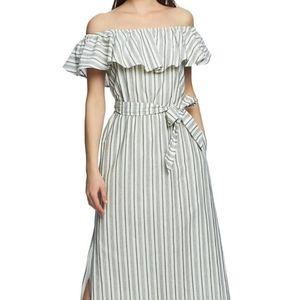 1. State Striped Off Shoulder Maxi Dress L